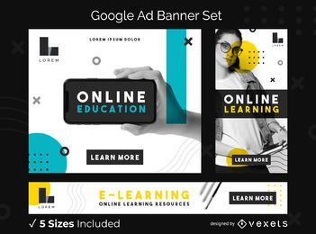 Conjunto de banner de anúncios do Google Education on-line