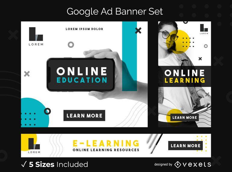Conjunto de banners de anuncios de Google de educación en línea