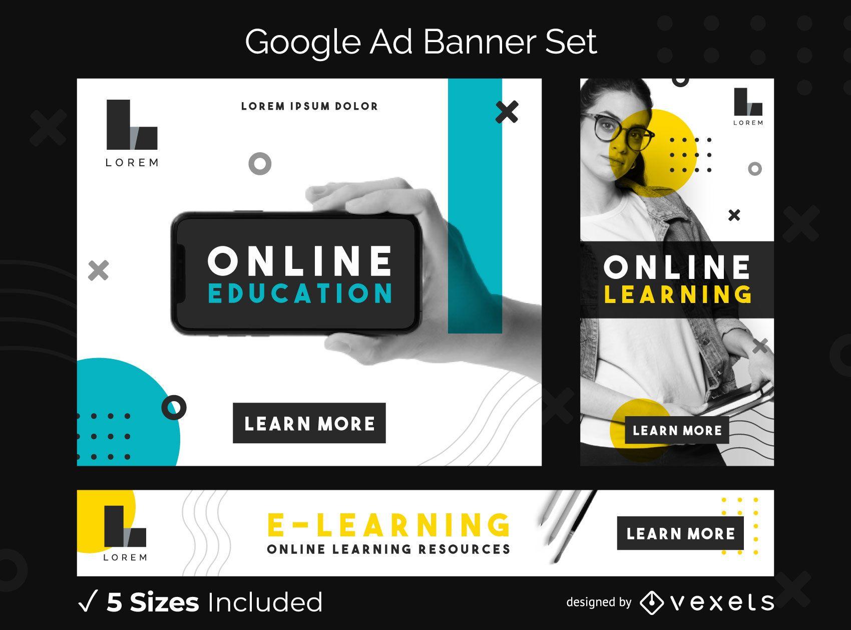 Conjunto de banners de anuncios de Google de educaci?n en l?nea