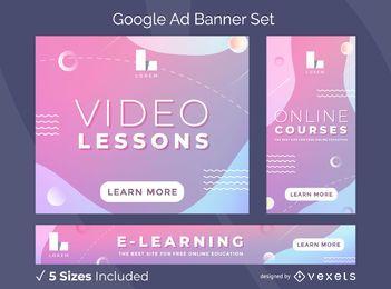 Pacote de banners do Google Ads com aulas de vídeo