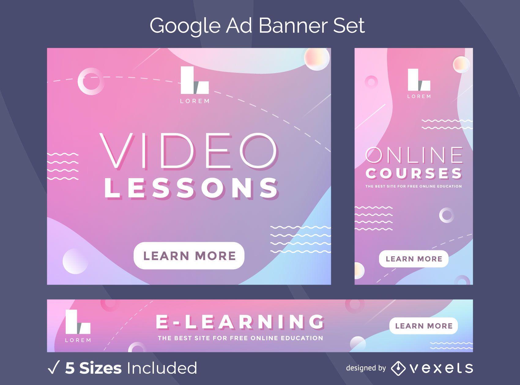Paquete de banners de anuncios de Google con lecciones en video