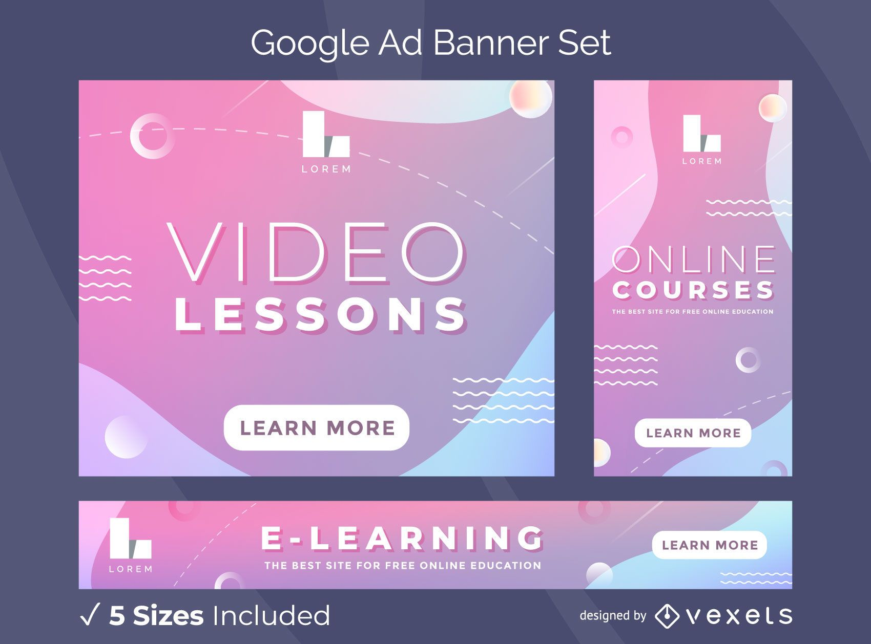 Video Lessons Google Ads Banner Pack