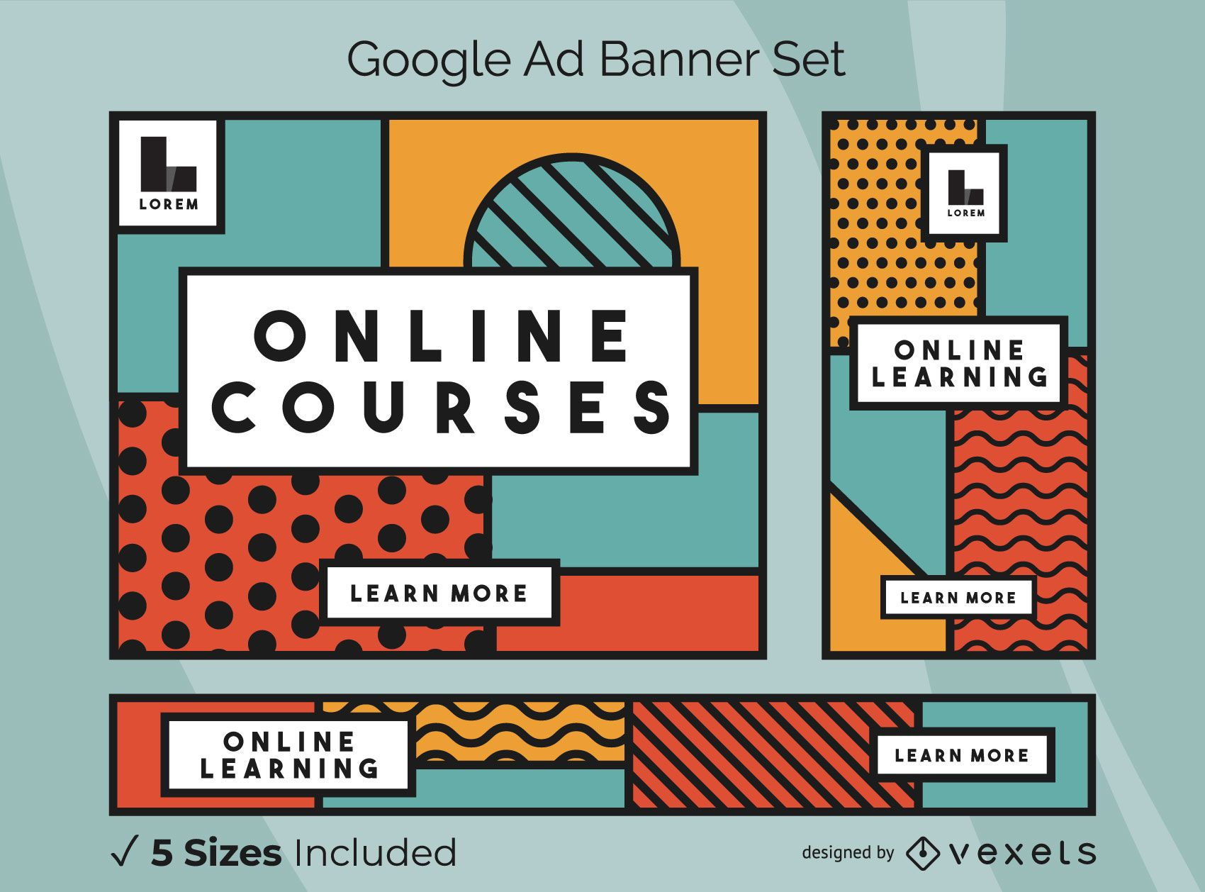 Pacote de banners do Google Ads de cursos online