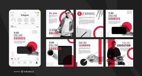 Pacote de banner quadrado social on-line de educação