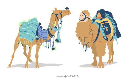 Conjunto de ilustración de camello de Estambul