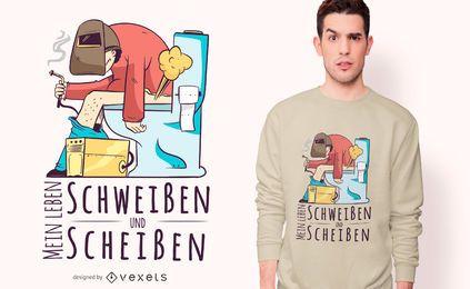 Projeto alemão do t-shirt das citações do soldador