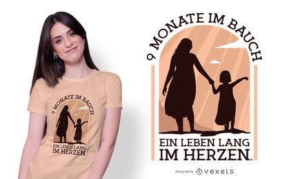Design alemão do t-shirt das citações da gravidez