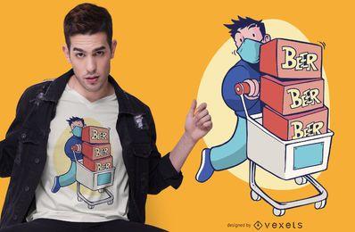 Design de camiseta de cerveja de carrinho de compras