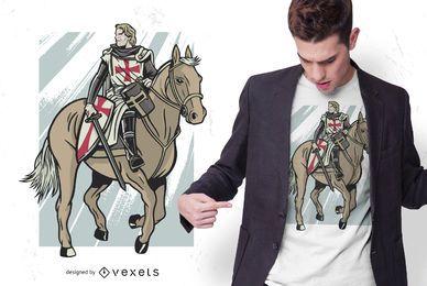 Diseño de camiseta de caballero templario