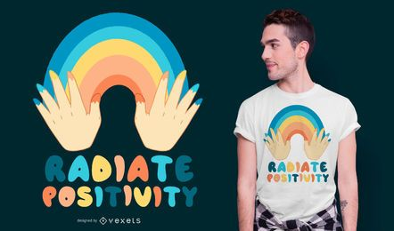 Diseño de camiseta de cita de irradiación de positividad