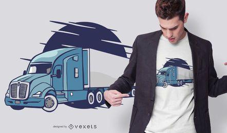 Diseño de camiseta de ilustración de camión semi