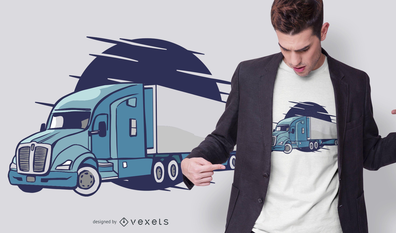 Semi-truck Illustration T-shirt Design