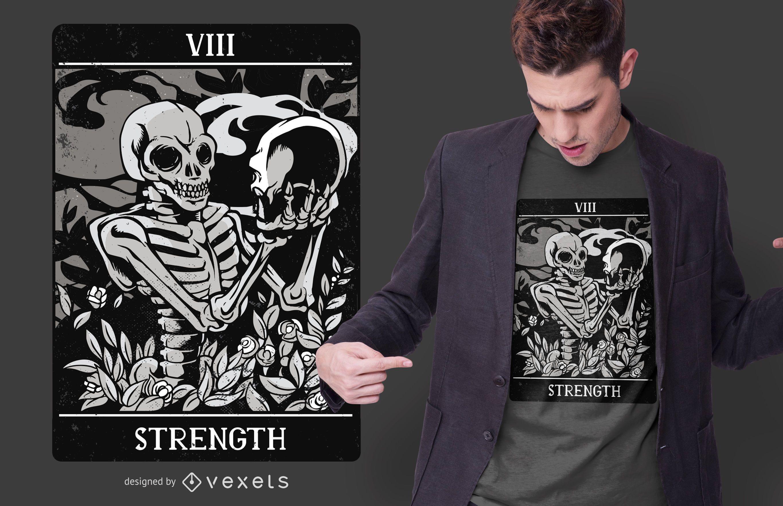 Diseño de camiseta Tarot Strength Skull