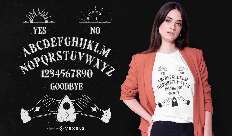 Design do t-shirt da placa de Ouija