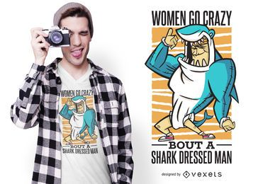 Diseño de camiseta de cita de traje de tiburón