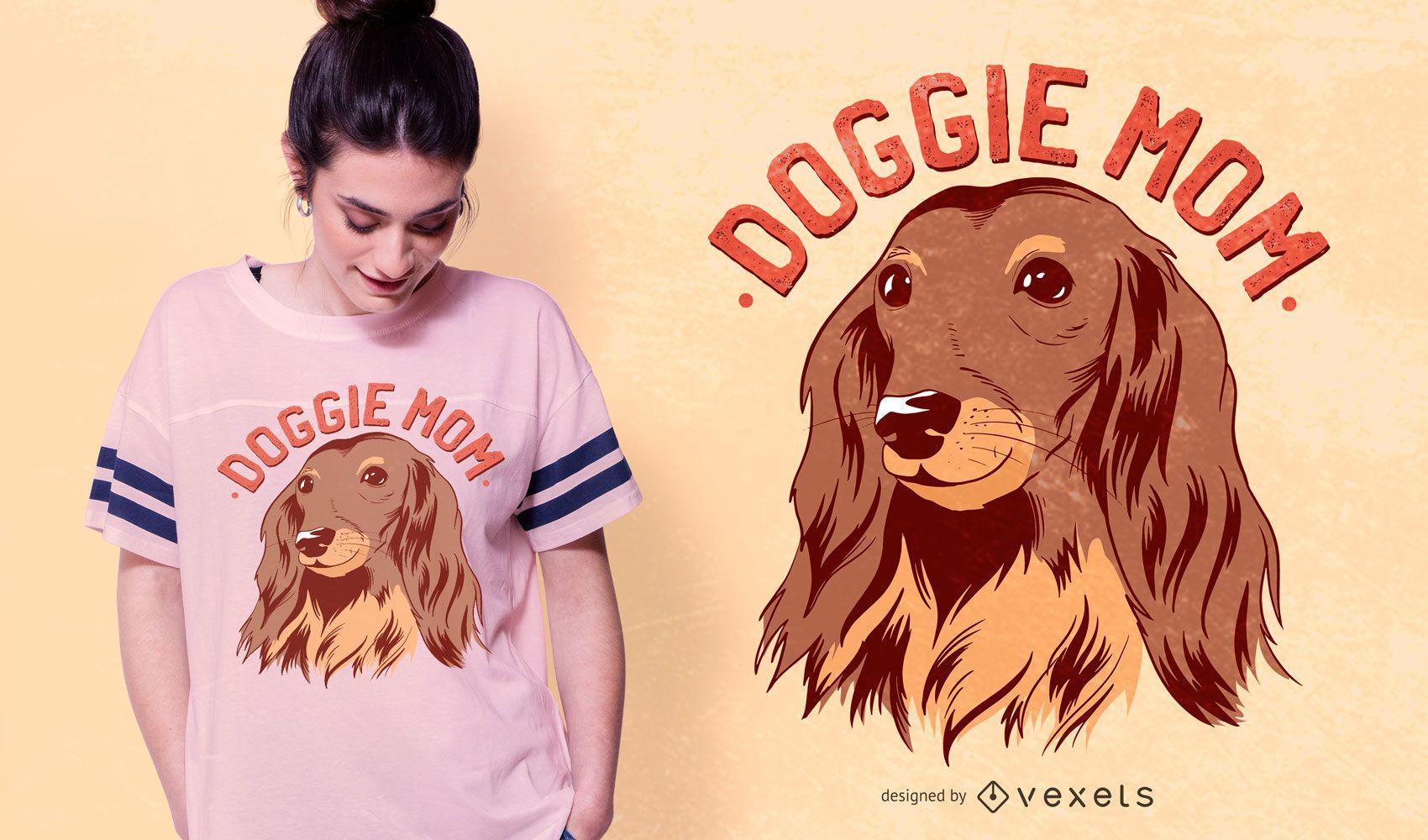 Doggie Mom Text T-shirt Design