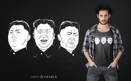 Diseño de camiseta Kim Jong Un Faces