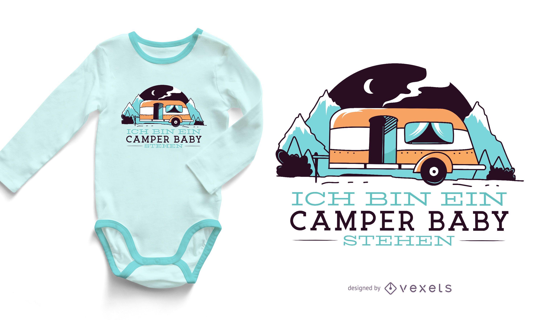 Diseño de camiseta camper baby