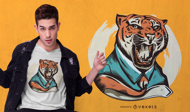 Diseño de camiseta de tigre rugiente