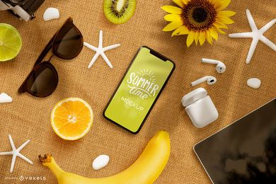Summer phone mockup composition