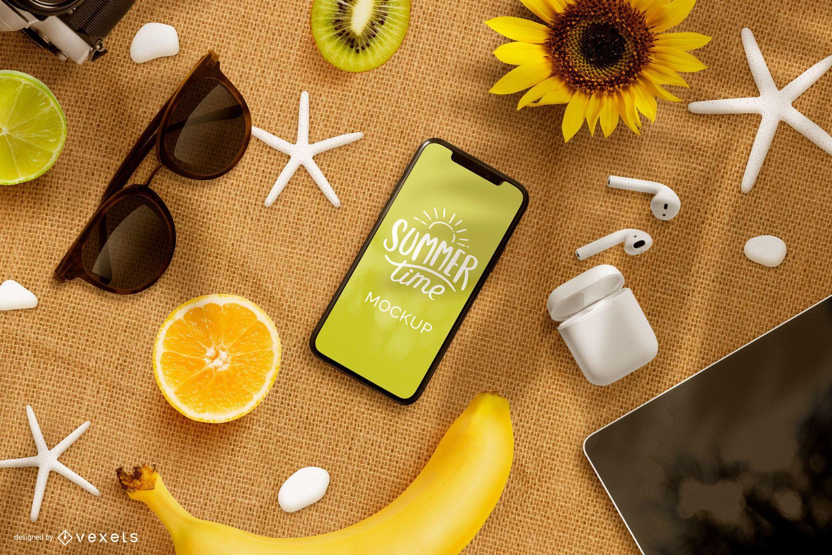 Composição de maquete de telefone de verão