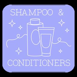 Bathroom shampoo and conditioner label line