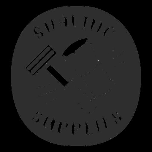 Bathroom shaving supplies label black
