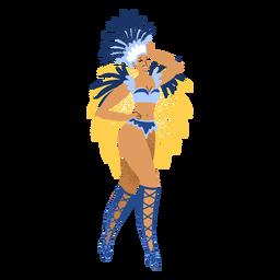Personagem de traje azul de mulher carnaval