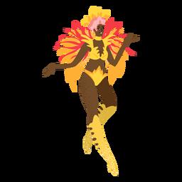 Personagem de custume de ouro de mulher carnaval