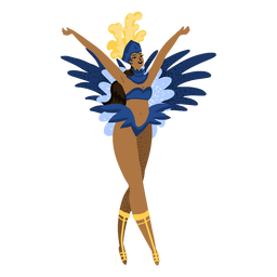 Carnaval mujer con brazos arriba personaje