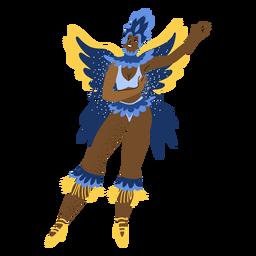 Mulher de carnaval com caráter de asas de borboleta
