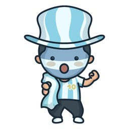 Cute argentinian man cheering character