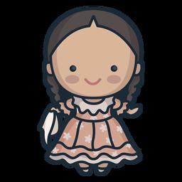 Cute argentinian woman dancing character
