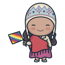 Cute argentinian woman with flag character