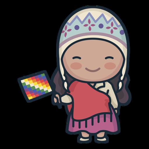 Linda mujer argentina con carácter de bandera Transparent PNG