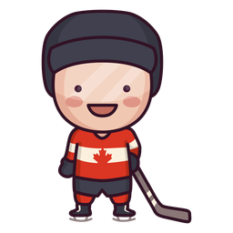 Cute canadian hockey player character