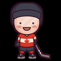 Lindo personaje de jugador de hockey canadiense