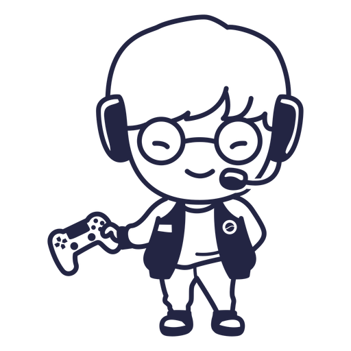 Cute south korean gamer character stroke Transparent PNG
