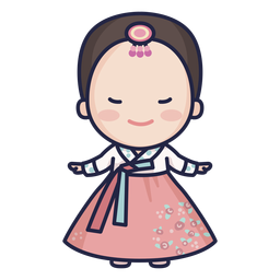 Cute south korean lady with hanbok character