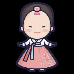 Senhora sul-coreana bonita com caráter de hanbok