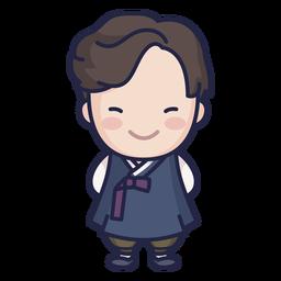 Lindo hombre surcoreano con carácter hanbok