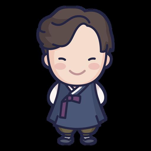 Lindo hombre surcoreano con personaje hanbok Transparent PNG