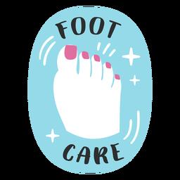 Cuidado del pie baño etiqueta plana