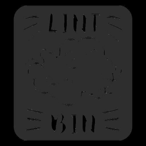 Etiqueta de baño para contenedor de pelusa negro