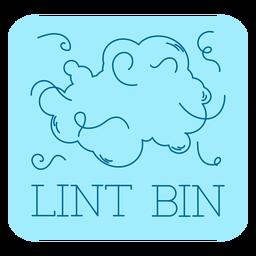Lint bin bathroom label line