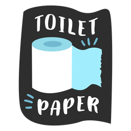 Toilet paper bathroom label flat