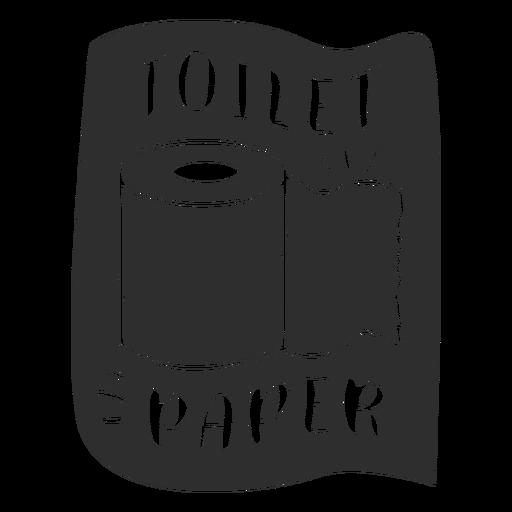 Etiqueta de baño de papel higiénico negro