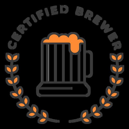 Cerveza certificada pinta trazo insignia