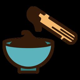 Churro mit Schale der Schokoladenikone