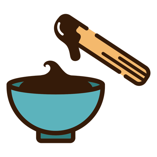 Churro with bowl of chocolate icon Transparent PNG